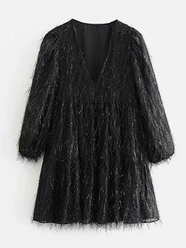 Tassel Black Long Sleeve Babydoll Dress