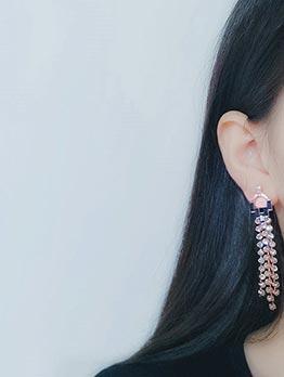 Easy Matching Rhinestone Tassel Earrings