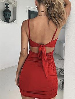 Back Tie Solid Pleated Sleeveless Summer Dresses