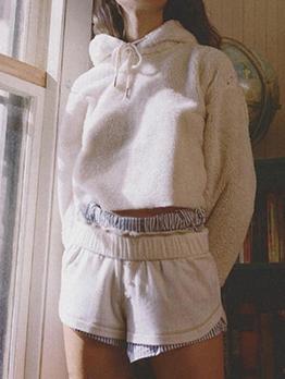 Versatile Solid Color Short Pullover Hoodies