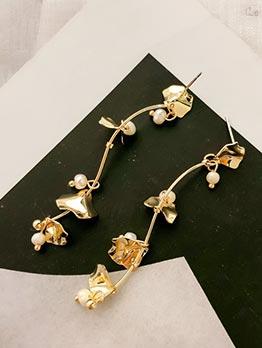 Chic Pearl Golden Ginkgo Leaf Long Earrings
