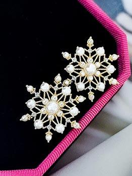 Simple Design Snowflake Pearl Earrings