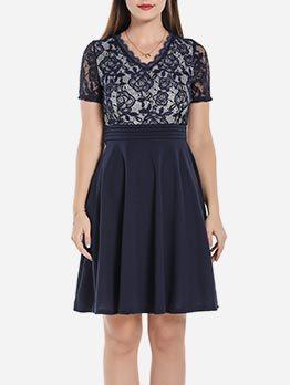 Lace Hollow Patchwork Short Sleeve Dress