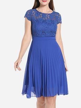 Hollow Ruffled Short Sleeve Midi Dress