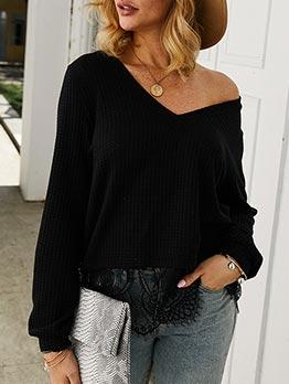 Lace Panel V Neck Long Sleeve T-shirts Women