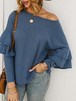 Solid Ruffled Long Sleeve Knit T Shirt