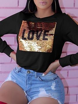 Contrast Color Sequin Crewneck Sweatshirt
