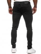 Fashion Dots Men Black Skinny Jeans