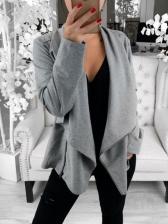 Pure Color Zipper Up Ladies Coat