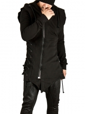 Loose Solid Hooded Male Outerwear