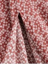 Floral Square Neck Split Short Sleeve Midi Dress
