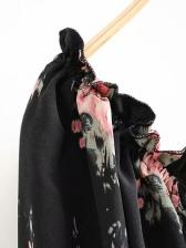 Printed Lace Up Sleeve Short Ruffled Dress