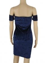 Embossed Solid Off Shoulder Bodycon Dress