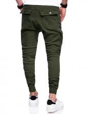 Solid Drawstring Pockets Harem Pants