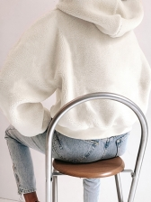 Winter Simple Style Soft White Hoodies For Women