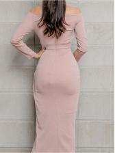 Ol Style Bodycon Off Shoulder Long Sleeve Dress