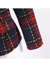 OL Style Long Sleeve Plaid Ladies Coat