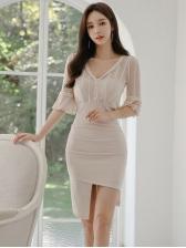 Lace Patchwork v Neck Bodycon Dress