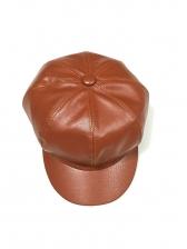 Faux Leather Solid Unisex Octagonal Cap