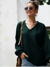 V Neck Knit Solid Long Sleeve T-shirts Women
