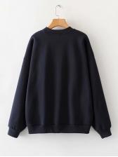 Loose Printed Long Sleeve Crewneck Sweatshirt