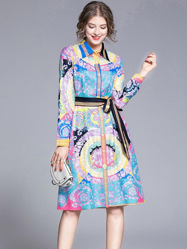Loose Colorful Shirt Long Sleeve Wrap Dress