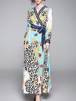 Slim Fit v Neck Wrap Print Maxi Dress