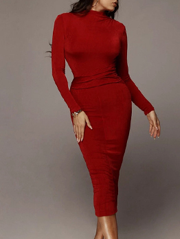 Pure Color Pleated Long Sleeve Midi Dress
