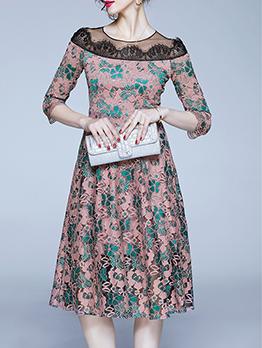 Contrast Color Lace Ladies a Line Dress