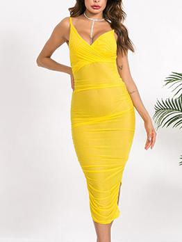 Split Ruffled Yellow Sleeveless Midi Dress