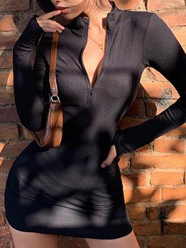 Zipper Up Solid Long Sleeve Bodycon Dress