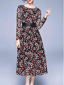 Stylish Lace Crew Neck Long Sleeve Dress