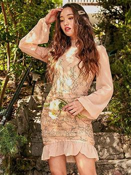 Patchwork Long Sleeve Ruffled Dress