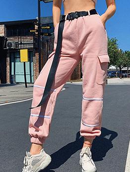 Fashion Pockets Pink Long Cargp Pants For Women