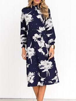 Fashion Printed Long Sleeve Midi Dress