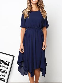 Irregular Hem Solid Short Sleeve Midi Dress