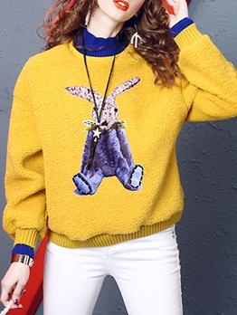 Rabbit Pattern Mock Neck Women Cotton Sweatshirt