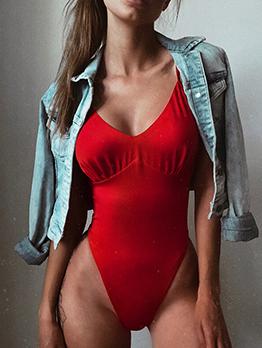 Deep V Neck Sleeveless Red Bodysuit For Women
