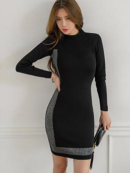 Contrast Color Zipper Shoulder Sweater Dress
