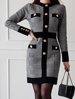 Houndstooth Button Decor Long Sleeve Knit Dress