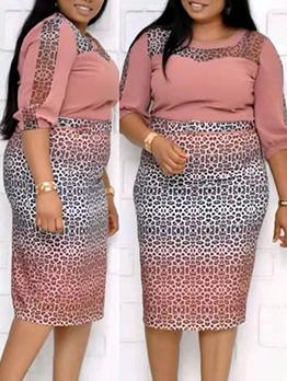 Leopard Printed Gradient Color Half Sleeve Midi Dress