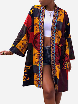 Vintage Style Print Long Sleeve Ladies Coat