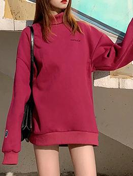 Mock Neck Long Sleeve Thicker Sweatshirt For Women