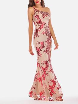Sequin One Shoulder Slit Sleeveless Maxi Dress