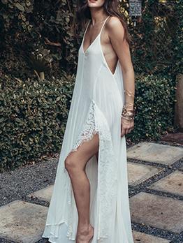Bohemian Lace Patchwork Slit White Maxi Dress