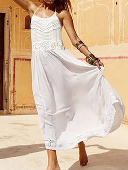 Bohemian Solid Midi White Halter Maxi Dress