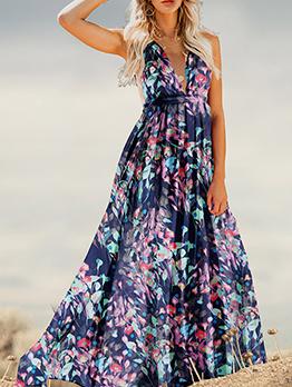 Bohemian Deep v Floral Maxi Dress