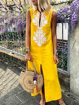 Bohemian Slit Printed Sleeveless Maxi Dress