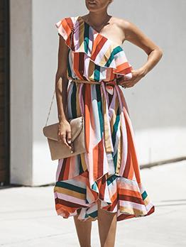 Irregular Hem Incline Shoulder Striped Short Sleeve Dresses