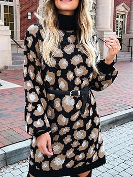 Turtle Neck Long Sleeve Sweater Dress